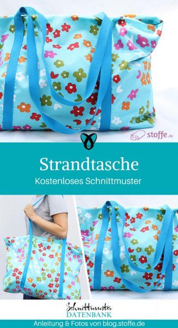 Strandtasche XXL Tasche Shopper nähen gratis Schnittmuster kostenlos Anleitung Idee Nähidee Geschenk Geschenkidee Freebie Freebook
