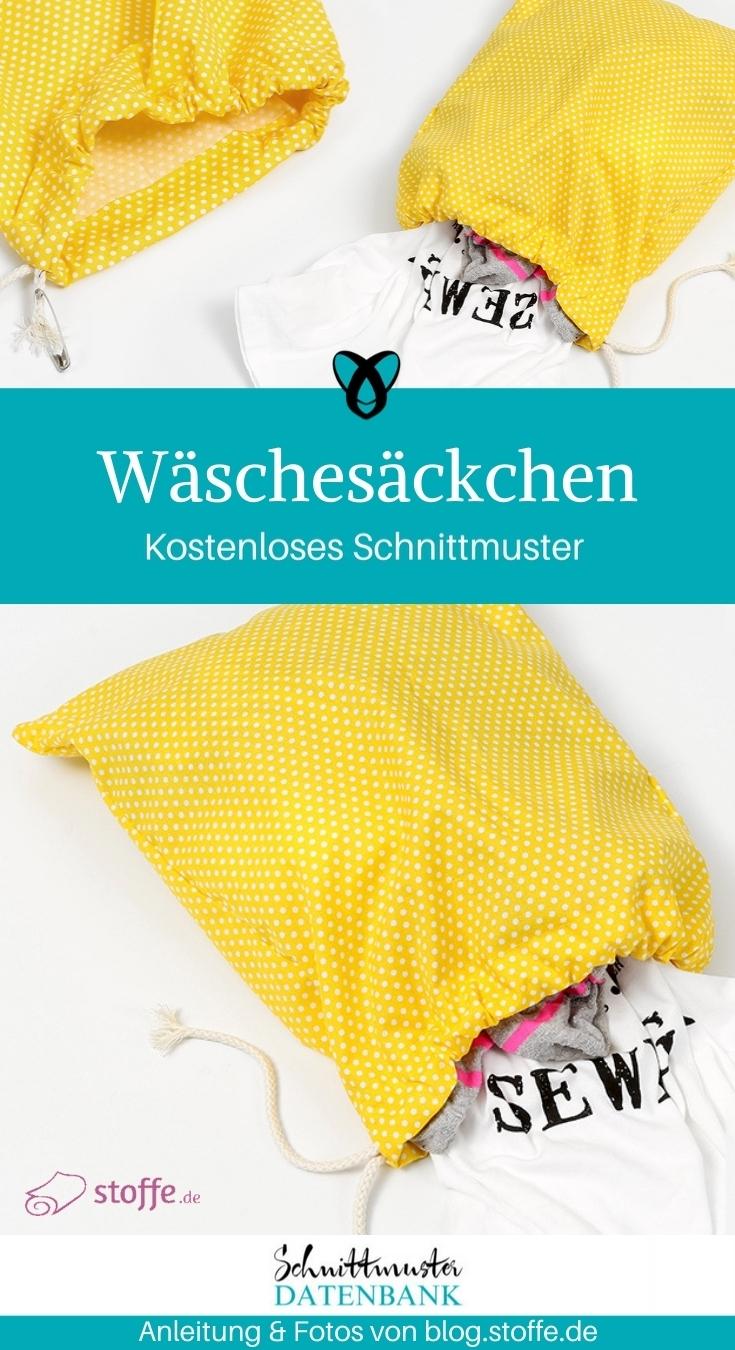 Wäschesäckchen Beutel mit Tunnelzug nähen gratis Schnittmuster kostenlos Anleitung Idee Nähidee Geschenk Geschenkidee Freebie Freebook Wäschebeutel