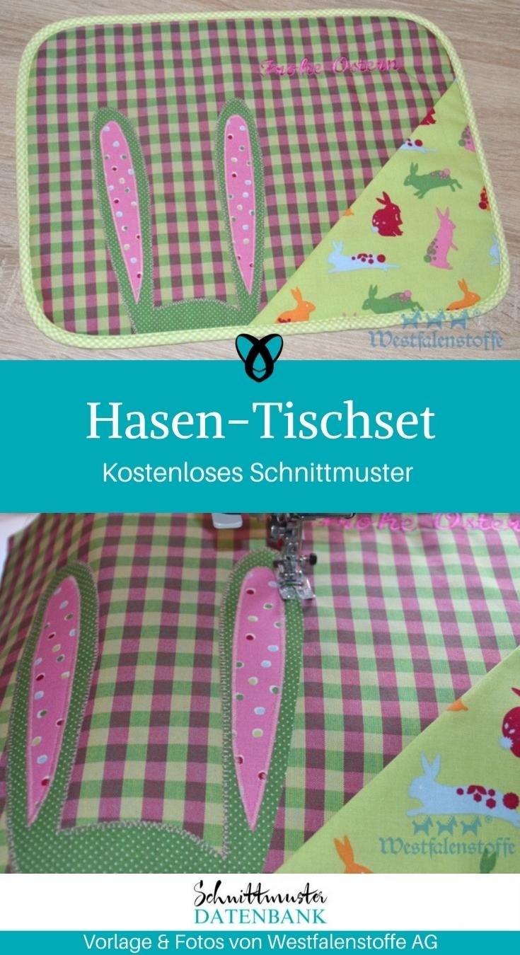 Hasen Tischset Tischdeko Ostern Osterdeko nähen Schnittmuster kostenlos gratis Osterideen Dekoideen Anleitung Idee Nähidee Freebie Freebook