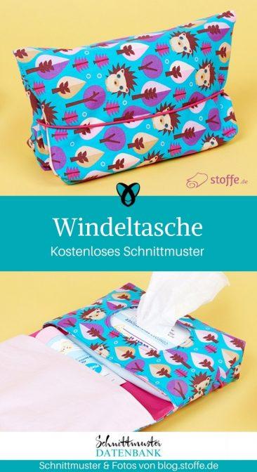 Windeltasche mit Loch für Feuchttücher nähen gratis Schnittmuster kostenlos Anleitung Idee Nähidee Geschenk Geschenkidee Freebie Freebook