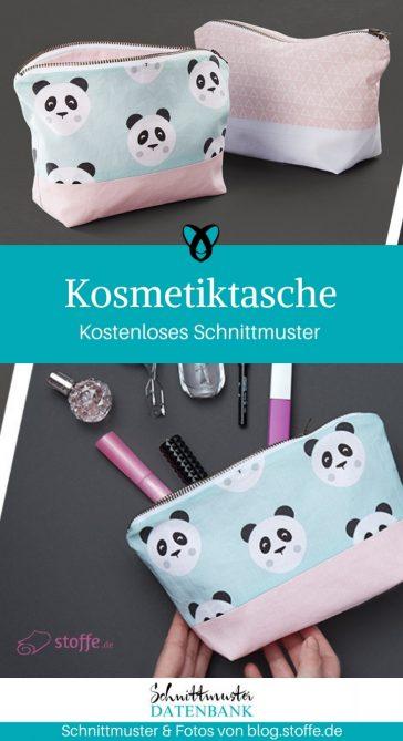 Kosmetiktasche für Anfänger nähen gratis Schnittmuster kostenlose Anleitung Idee Nähidee Geschenk Geschenkidee Freebie Freebook