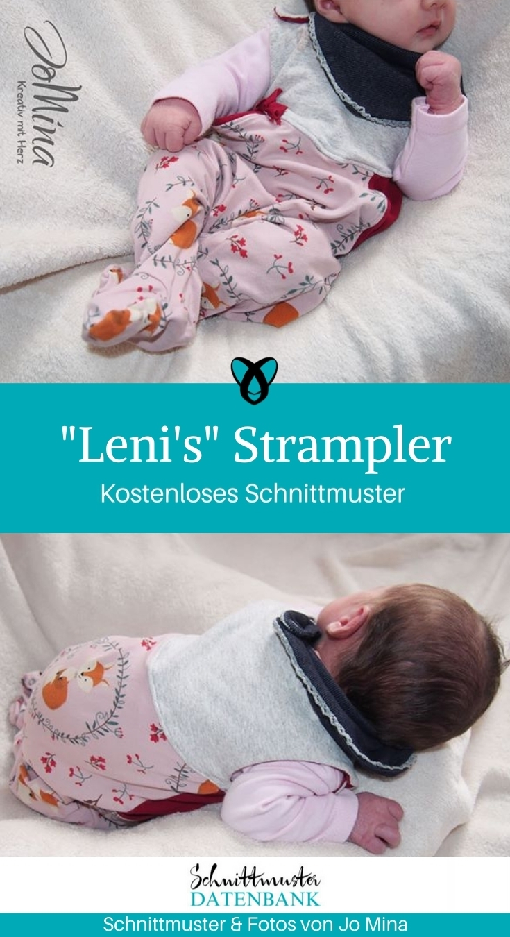 Lenis Strampler gratis Schnittmuster kostenlos Baby mit Füßen Jomina