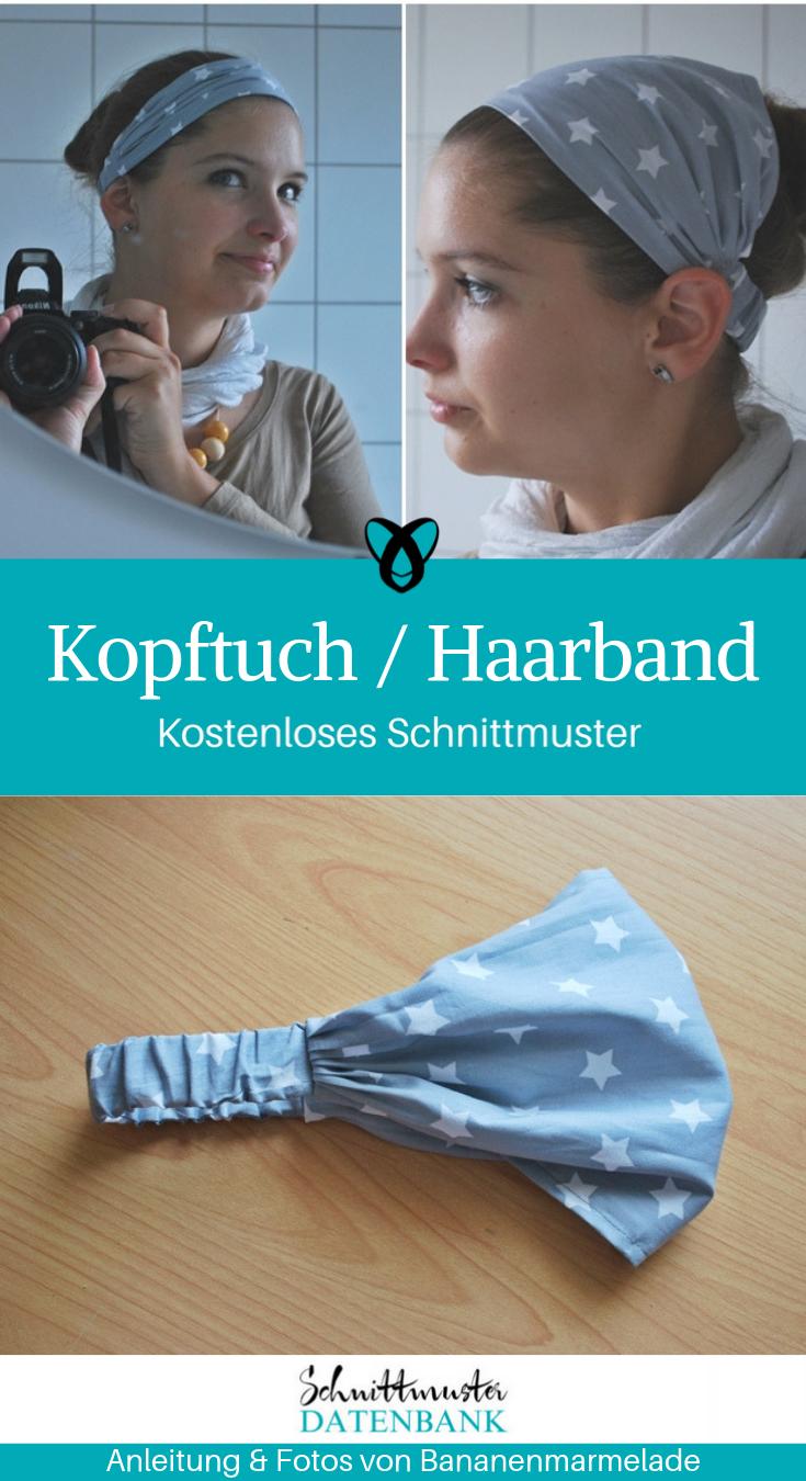 Haarband für Frauen Kopftuch Accessoires Kopfschmuck nähen kostenloses Schnittmuster Gratis-Nähanleitung