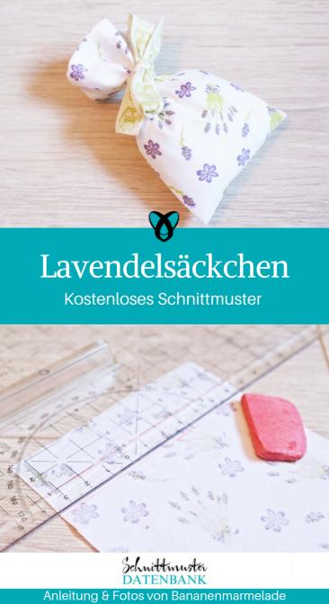 Lavendelsäckchen Duftsäckchen Nähen für Zuhause kleine Geschenke selber machen kostenloses Schnittmuster Gratis-Nähanleitung