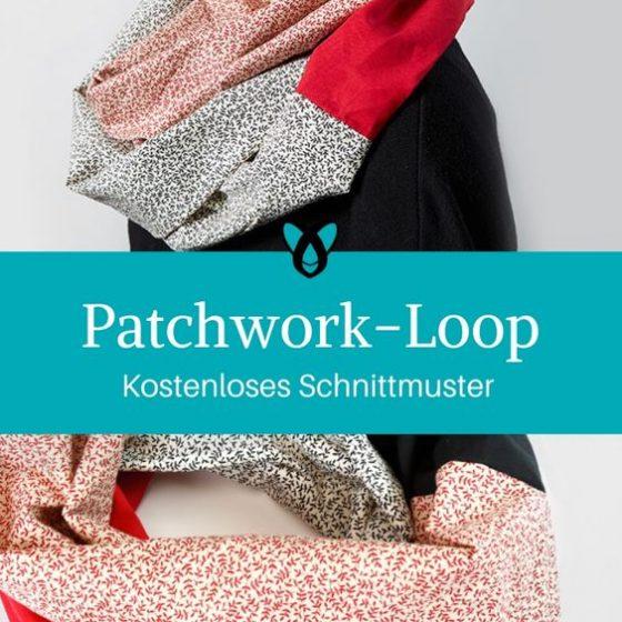 Loopschal aus Webware Patchwork Loop für Erwachsene nähen gratis Schnittmuster kostenlose Anleitung Idee Nähidee Geschenk Geschenkidee Freebie Freebook