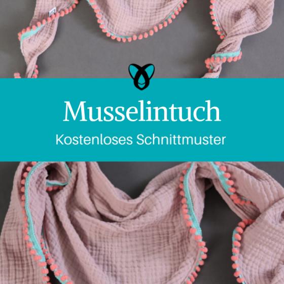Musselintuch Schal Tuch mit Pomponborte Accessoires Nähen kostenloses Schnittmuster Gratis-Nähanleitung