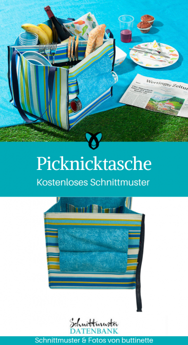 Picknicktasche Picknickkorb große Tasche Nähideen für den Sommer kostenloses Schnittmuster Gratis-Nähanleitung