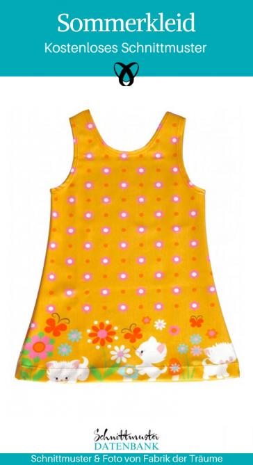 Sommerkleid für Kinder Nähen für Kinder Hängerchen Trägerkleid kostenloses Schnittmuster Gratis-Nähanleitung