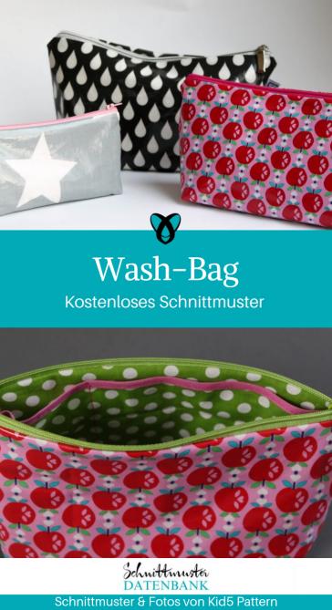 Wash-Bag Kosmetiktasche Kulturbeutel kleine Tasche Etui kostenloses Schnittmuster Gratis-Nähanleitung