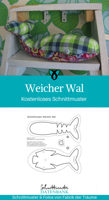 Weicher Wal Kuscheltier Spielzeug für Kinder nähen Plüschtier kostenloses Schnittmuster Gratis-Nähanleitung
