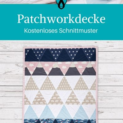 Patchworkdecke für Babys nähen gratis Schnittmuster kostenlos Anleitung Idee Nähidee Geschenk Geschenkidee Freebie Freebook Dreiecke Patchwork Decke
