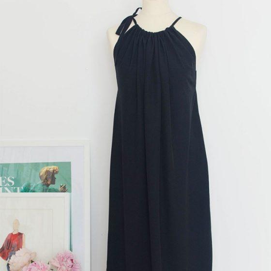 Kleid nähen einfach Anleitung gratis kostenlos Sommerkleid Maxikleid Jersey Frauen Damen Erwachsene