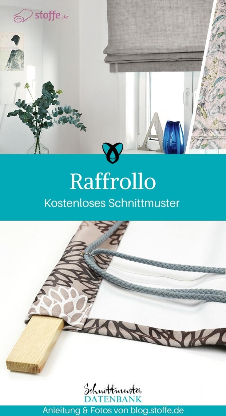 Raffrollo Rollo selber nähen gratis Schnittmuster kostenlose Anleitung Idee Nähidee Wohnung Gardine