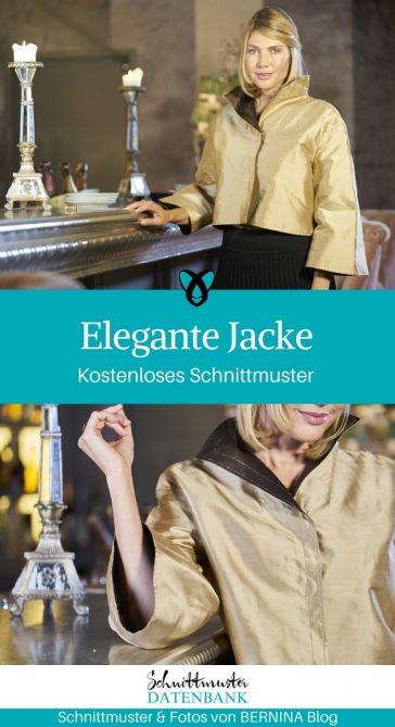 Jacke elegant für Frauen Damen festlich schick nähen kostenloses Schnittmuster gratis Nähanleitung Freebie Nähidee Idee Freebook