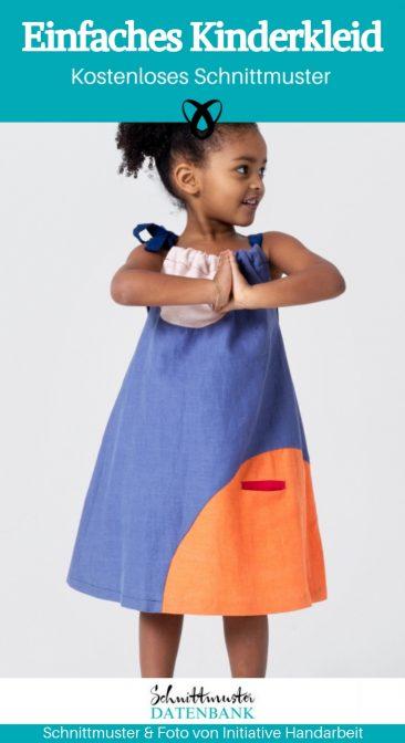 Einfaches Kinderkleid Nähen für Kinder kostenloses Schnittmuster Gratis-Nähanleitung
