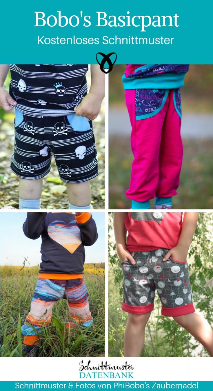 Kinderhose kurz und lang Jerseyhose Pumphose Nähen für Kinder kostenlose Schnittmuster Gratis-Nähanleitung
