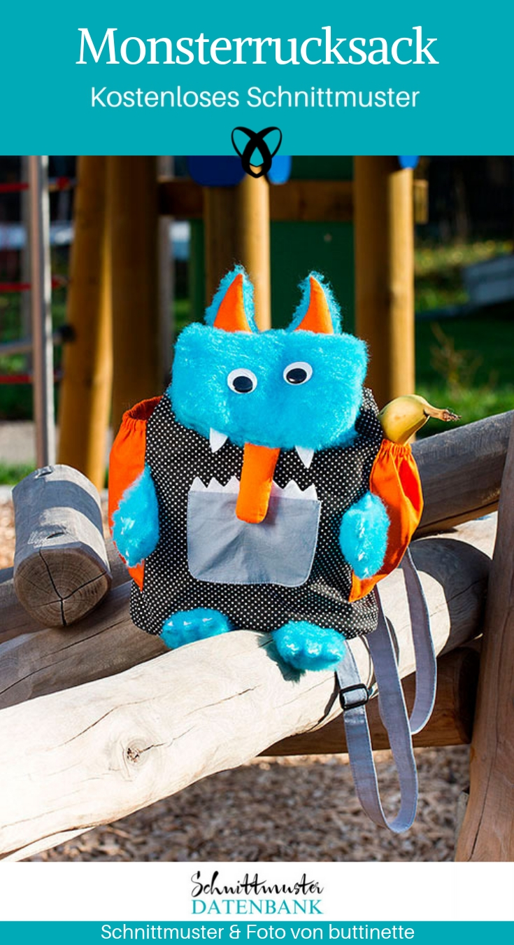 Monsterrucksack Kinderrucksack Kindergartentasche nähen Nähen für Kinder kostenlose Schnittmuster Gratis-Nähanleitung
