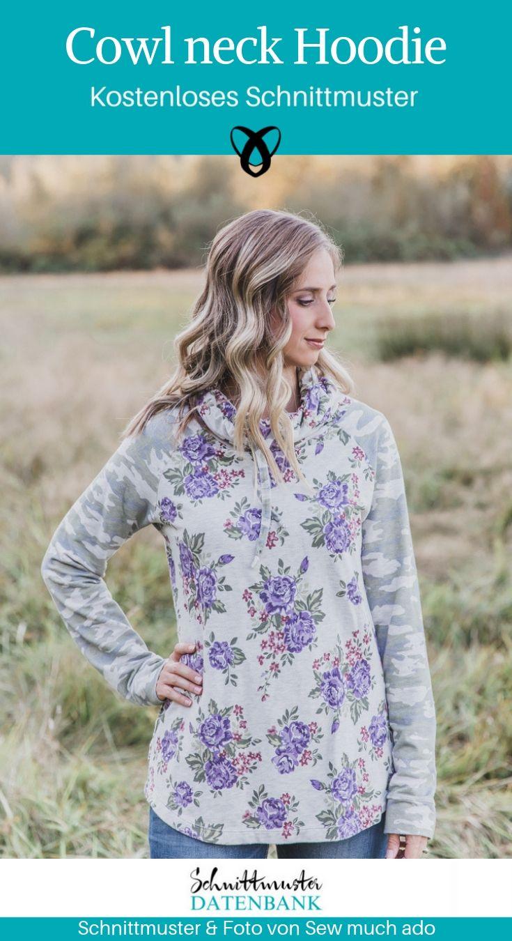 Pullover Hoodie Wasserfallausschnitt Oberbekleidung Damen Shirt Sweatshirt kostenloses Schnittmuster Gratis-Nähanleitung