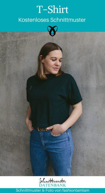 T-Shirt mit angeschnittenen Ärmeln Shirt Nähen für Frauen Bekleidung Oberteil kostenlose Schnittmuster Gratis-Nähanleitung