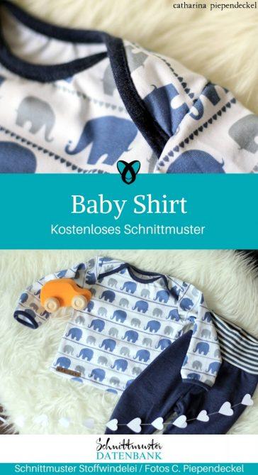 Baby Shirt Babyshirt für Babys lange Ärmel gratis Schnittmster kostenlos Nähen Anleitung Erstlingsset