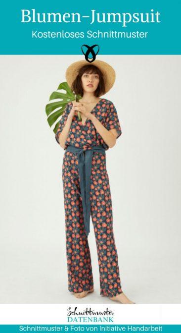 Blumen Jumpsuit Overall Anzug Damenbekleidung Kostenlose Schnittmuster Gratis-Nähanleitung