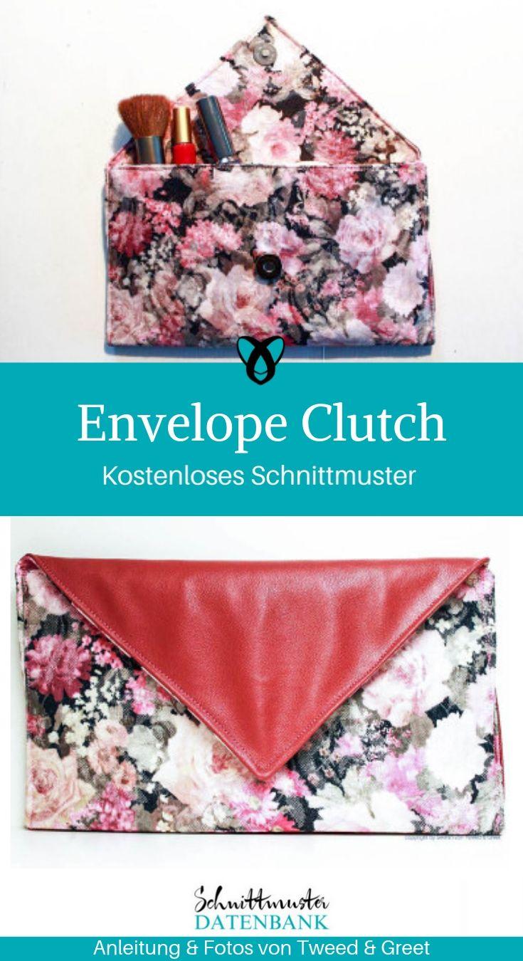 Envelope Clutch Handtasche Abendtasche Damenhandtasche kostenlose Schnittmuser Gratis-Nähanleitung