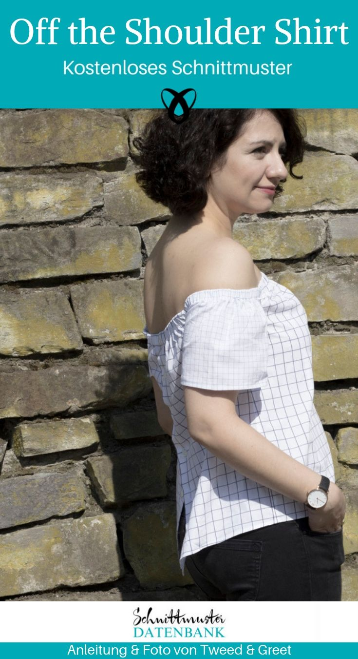 Off the shoulder Shirt Upcycling Bluse Damenbluse kostenlose Schnittmuster Gratis-Nähanleitung