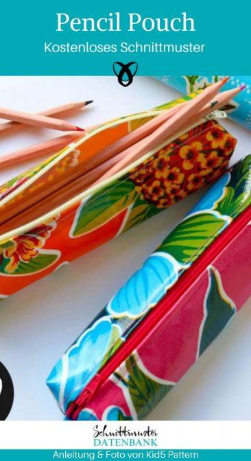 Pencil Pouch Mäppchen Stifteetui Federmäppchen kostenlose Schnittmuster Gratis-Nähanleitung