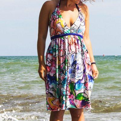 Strandkleid Sommerkleid Kleid Nähen für Frauen kostenlose Schnittmuster Gratis-Nähanleitung