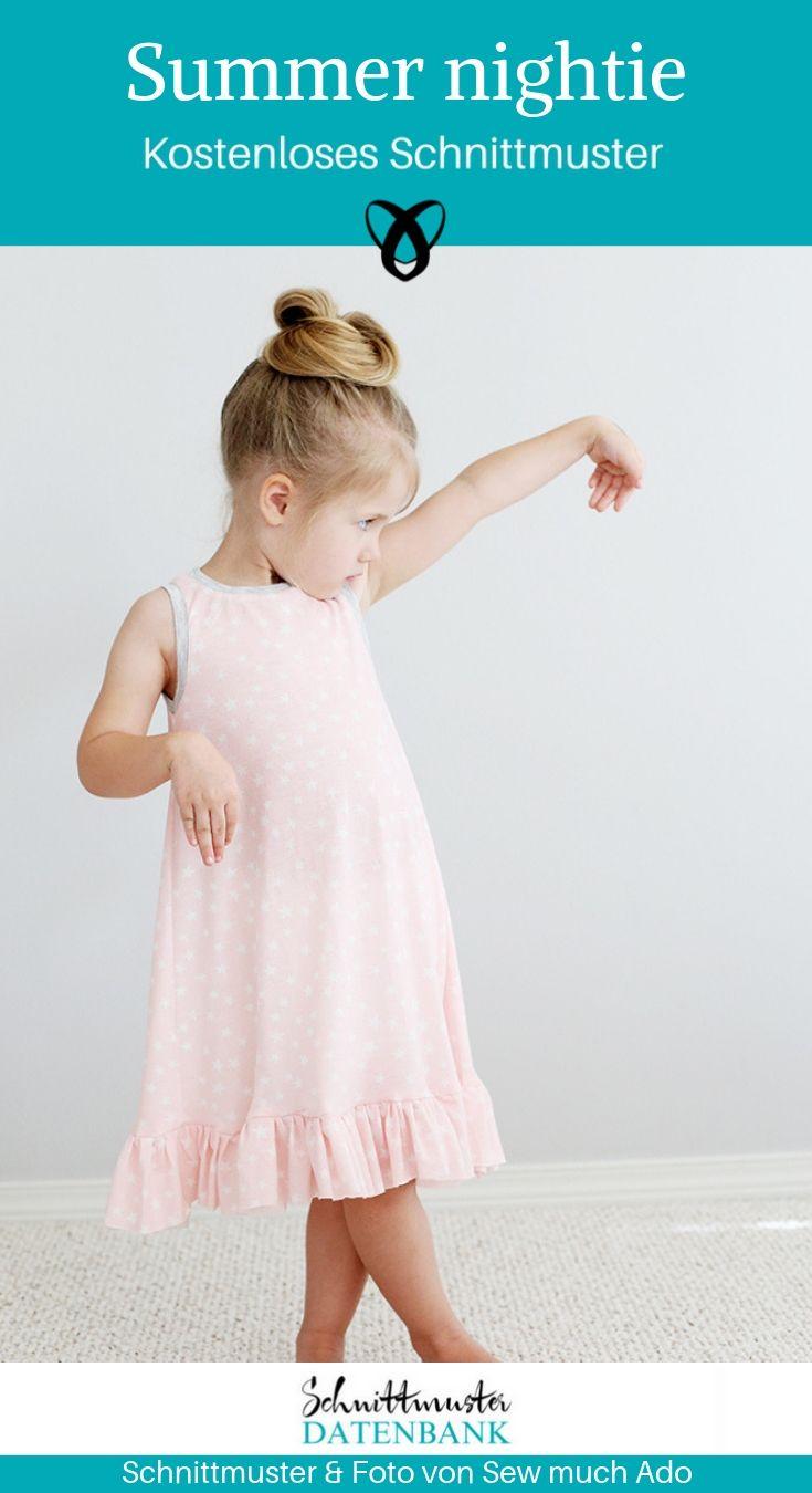Summer nightie Sommernachthemd Kinder Trägerkleid Nachtwäsche kostenlose Schnittmuster Gratis-Nähanleitung