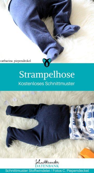 Strampelhose Hose Babyhose für Babys mit Füßen kostenloses Schnittmuster gratis kostenlos nähen Stoffwindelei erstlingsset