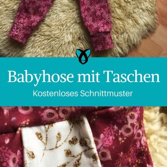 Babyhose mit Taschen Hose für Babys kostenloses Schnittmuster gratis kostenlos nähen Stoffwindelei erstlingsset