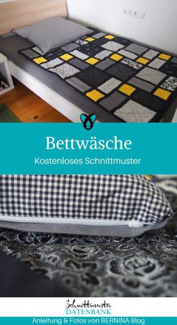 Bettwäsche Reißverschluss Bettlaken Nähen für zuhause kostenlose Schnittmuster Gratis-Nähanleitung