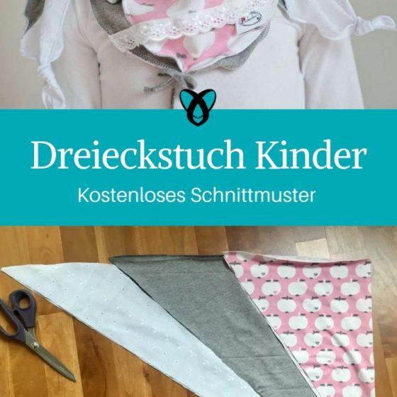 Dreieckstuch Kinder schal nähen für Kinder Accessoires Halstuch kostenlose Schnittmuster Gratis Nähanleitung