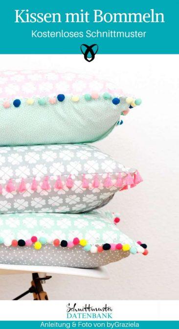 Kissen mit Bommeln Pompomborte Dekokissen Nähen für Zuhause kostenlose Schnittmuster gratis Nähanleitung
