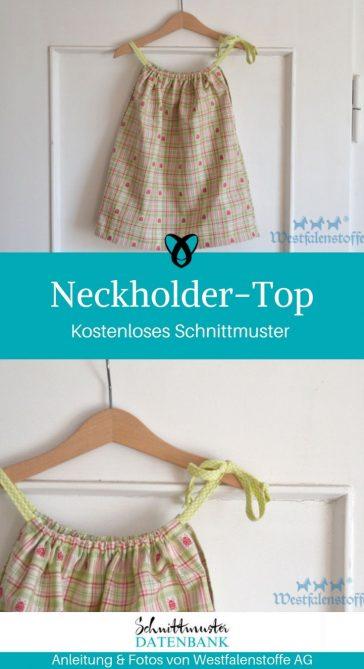 Neckholder Top Sommertop Oberteil mit Trägern kostenloses Schnittmuster Gratis-Nähanleitung