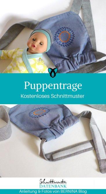 Puppentrage Nähen für Puppen Kinderspielzeug kostenlose Schnittmuster Gratis-Nähanleitung