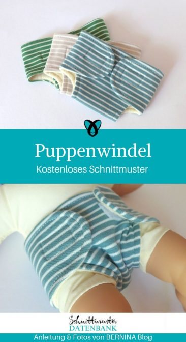 Puppenwindel Stoffwindel Puppe Spielzeug nähen Puppenkleidung Nähen für Kinder kostenlose Schnittmuster Gratis-Nähanleitung