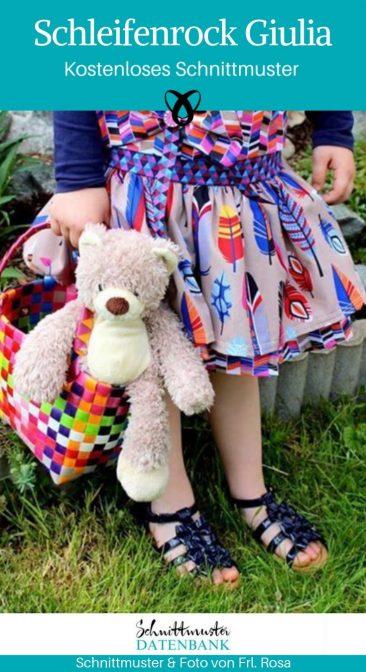 Schleifenrock Rock für Mädchen Kinderrock Kinderkleidung kostenlose Schnittmuster Gratis-Nähanleitung