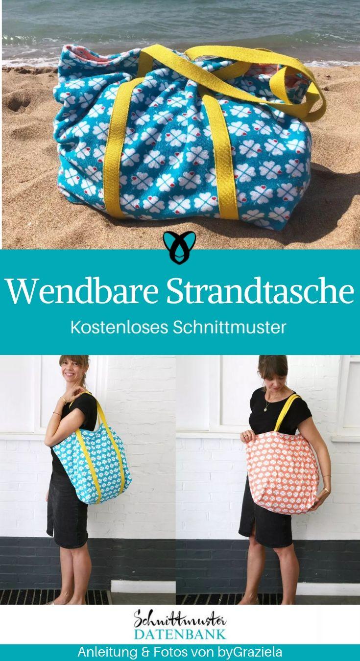 Wendbare Strandtasche XXL Tasche Reisetasche Beachbag kostenlose Schnittmuster Gratis-Nähanleitung