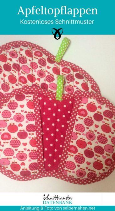 Apfeltopflappen Topflappen Nähen für die Küche kostenlose Schnittmuster Gratis-Nähanleitung
