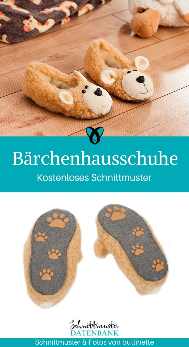 Bärchenhausschuhe Hausschuhe Kinder Pantoffel Pantoletten Kinderschuhe Nähen für Kinder kostenlose Schnittmuster Gratis-Nähanleitung