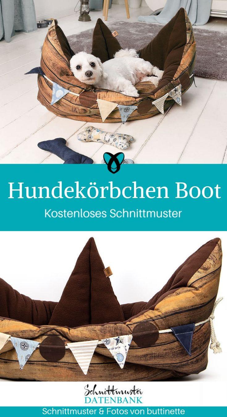 Hundekörbchen Katzenkörbchen Boot Nähen für Hund Katze Haustier kostenlose Schnittmuster Gratis-Nähanleitung