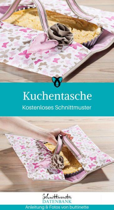 Kuchentasche Kuchenbox aus Stoff Nähen für Zuhause kostenlose Schnittmuster Gratis-Nähanleitung