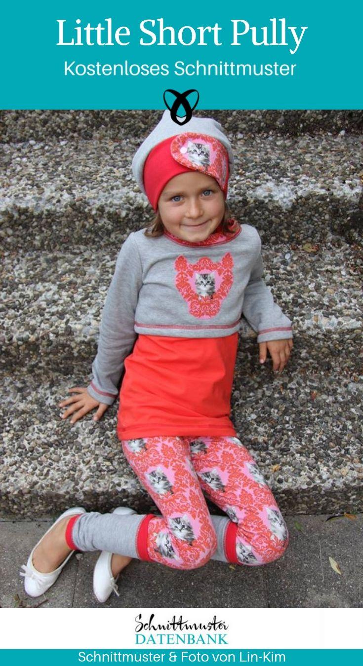 Kurzpullover Shortpully Nähen für Kinder kostenlose Schnittmuster Croptop Gratis-Nähanleitung