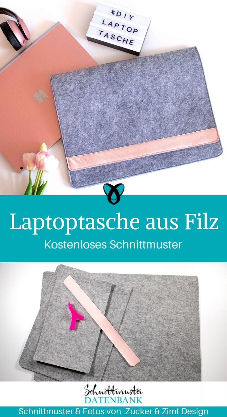Laptoptasche aus Filz Tasche für PC Schutzhülle Laptop kostenlose Schnittmuster Gratis-Nähanleitung