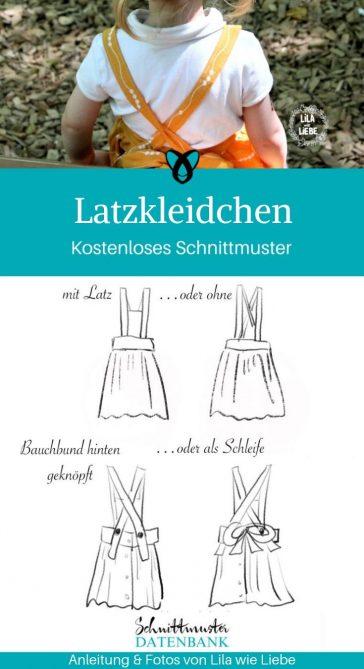 Latzkleidchen Latzkleid Mädchen Kinderkleid kostenlose Schnittmuster Gratis-Nähanleitung