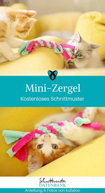Mini-Zergel Katzenspielzeug Haustiere Nähen Hundespielzeug Stoffreste kostenlose Schnittmuster Gratis-Nähanleitung