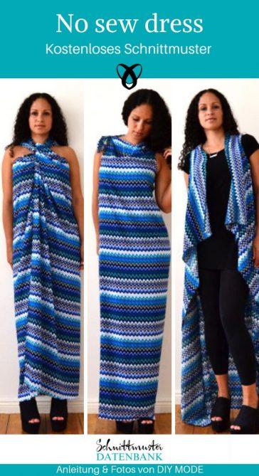 No sew dress Variantenkleid Kleid Damenkleid Cardigan Jacke Neckholderkleid kostenlose Schnittmuster Gratis-Nähanleitung
