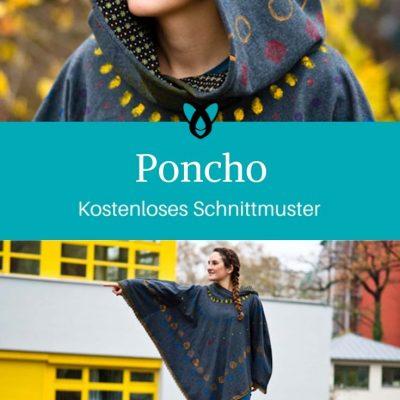 Poncho Damenponcho Überwurf Jacke kostenlose Schnittmuster Gratis-Nähanleitung